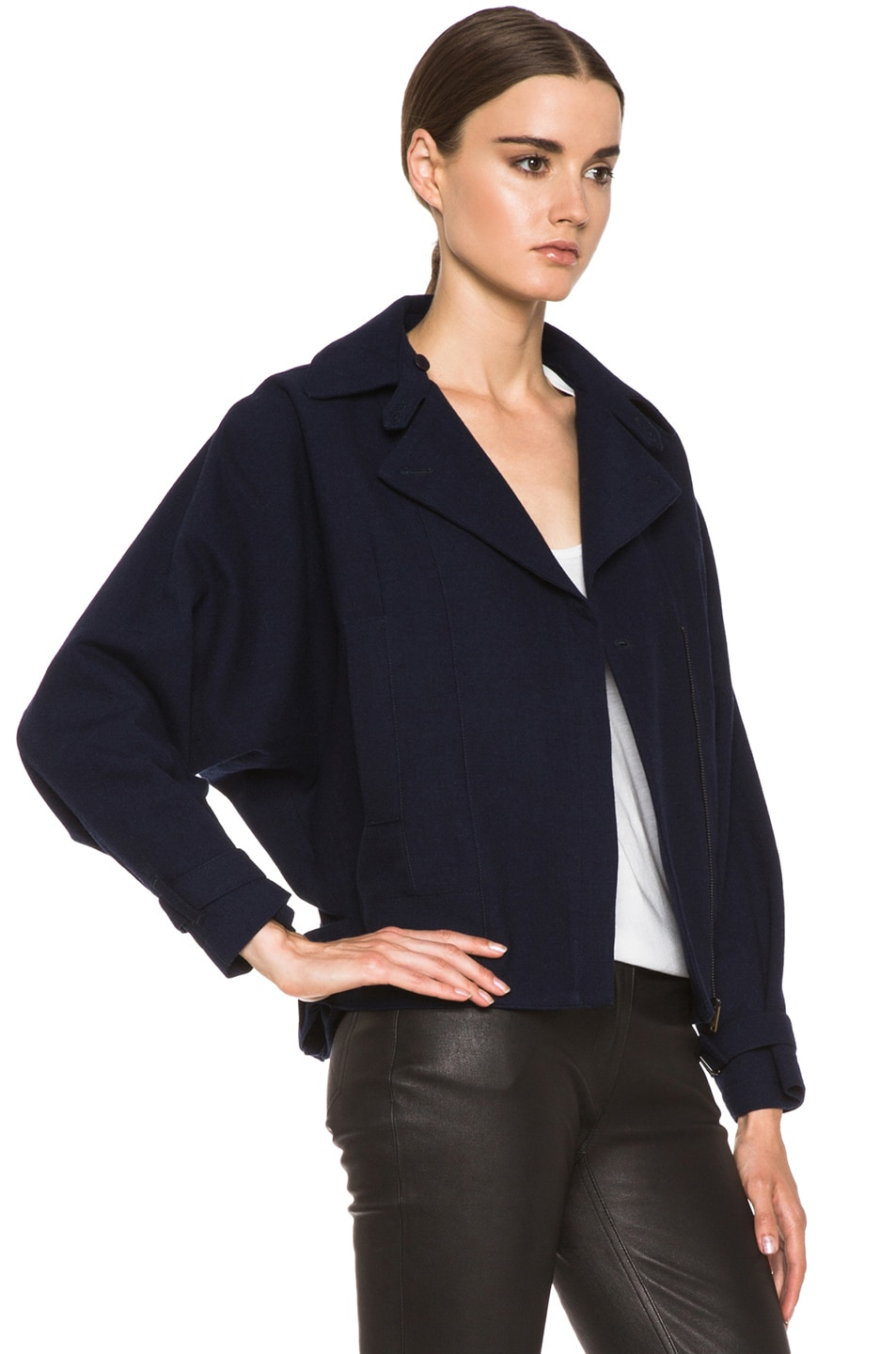 Image 4 of MM6 Maison Margiela Cropped Wool Coat in Indigo