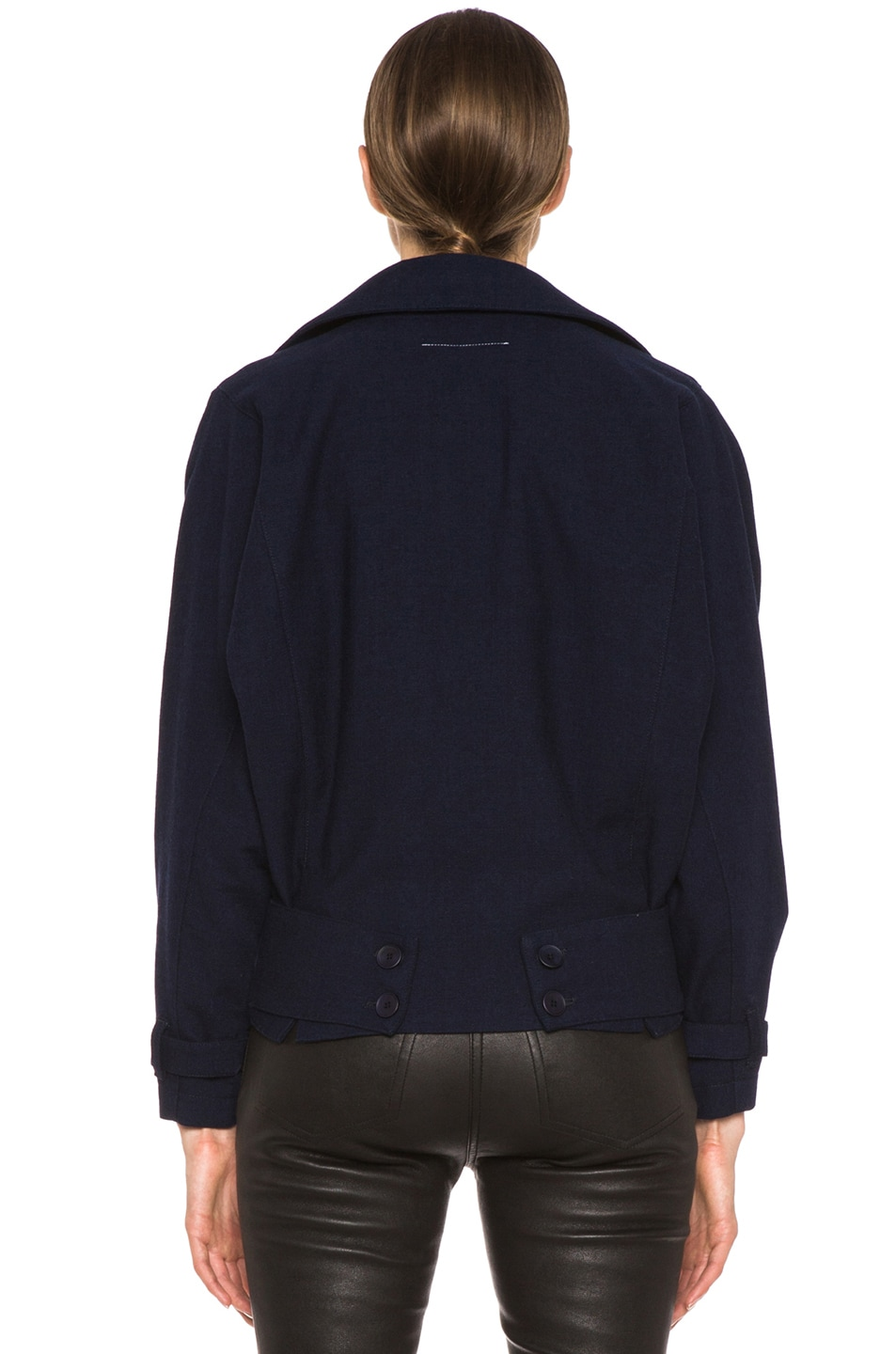 Image 5 of MM6 Maison Margiela Cropped Wool Coat in Indigo