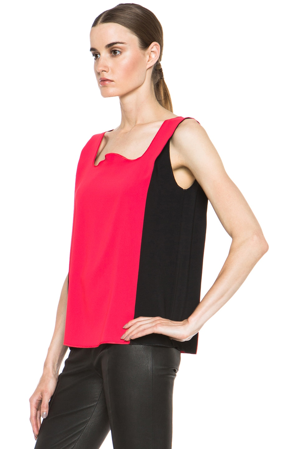 Image 2 of MM6 Maison Margiela Colorblock Poly Tank in Red & Black
