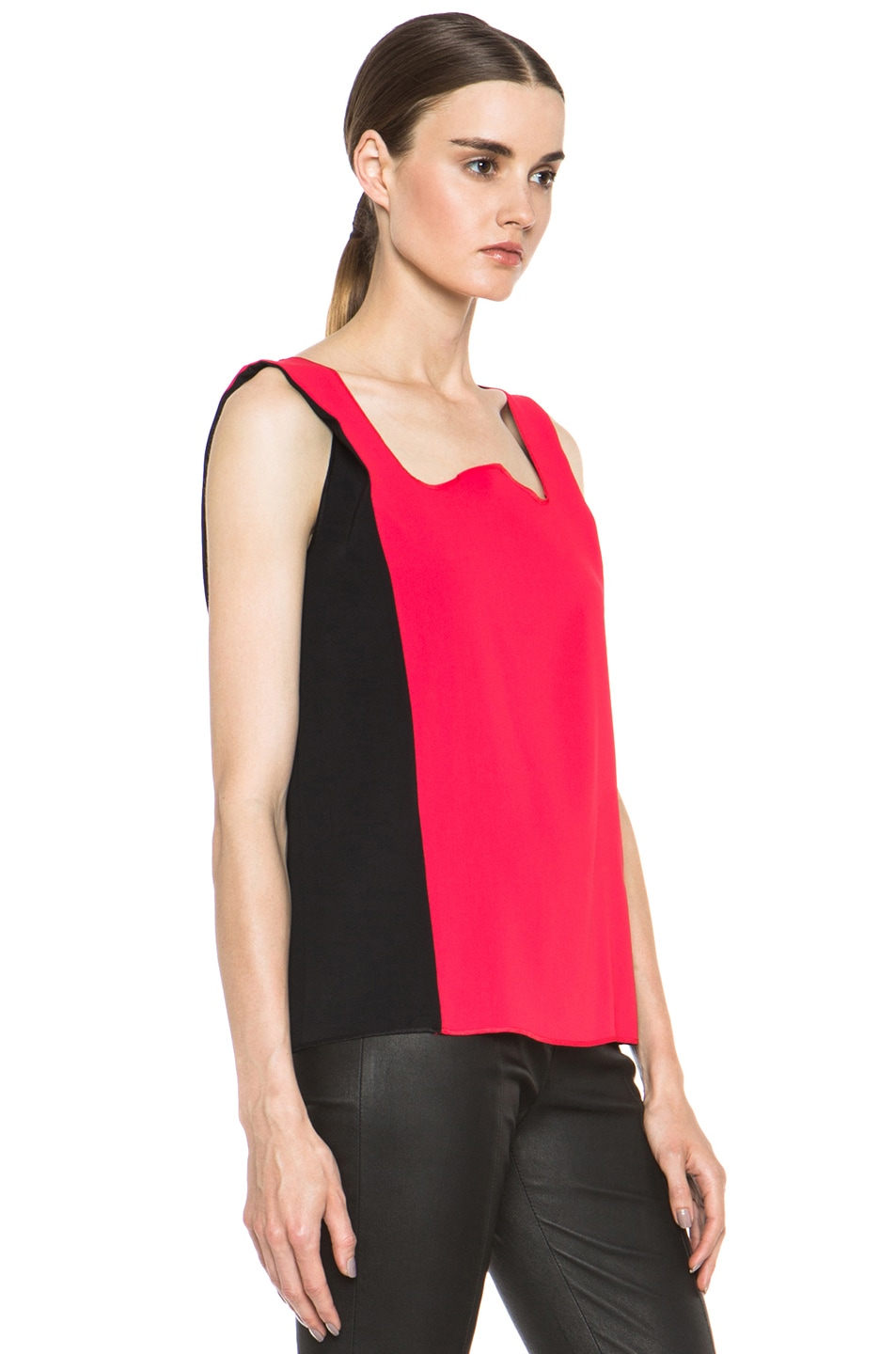 Image 3 of MM6 Maison Margiela Colorblock Poly Tank in Red & Black