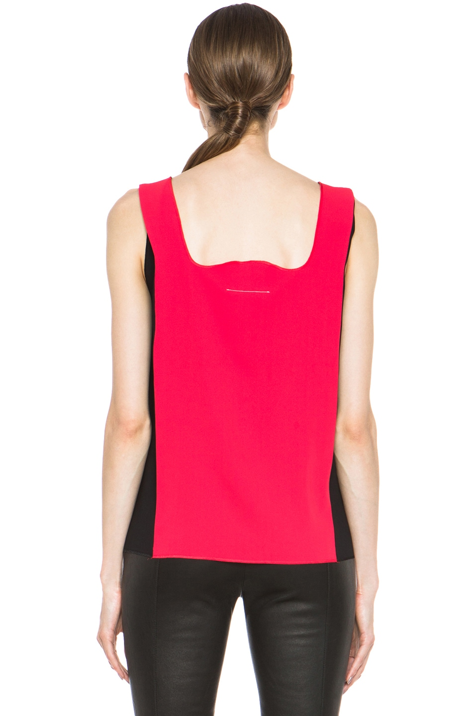 Image 4 of MM6 Maison Margiela Colorblock Poly Tank in Red & Black