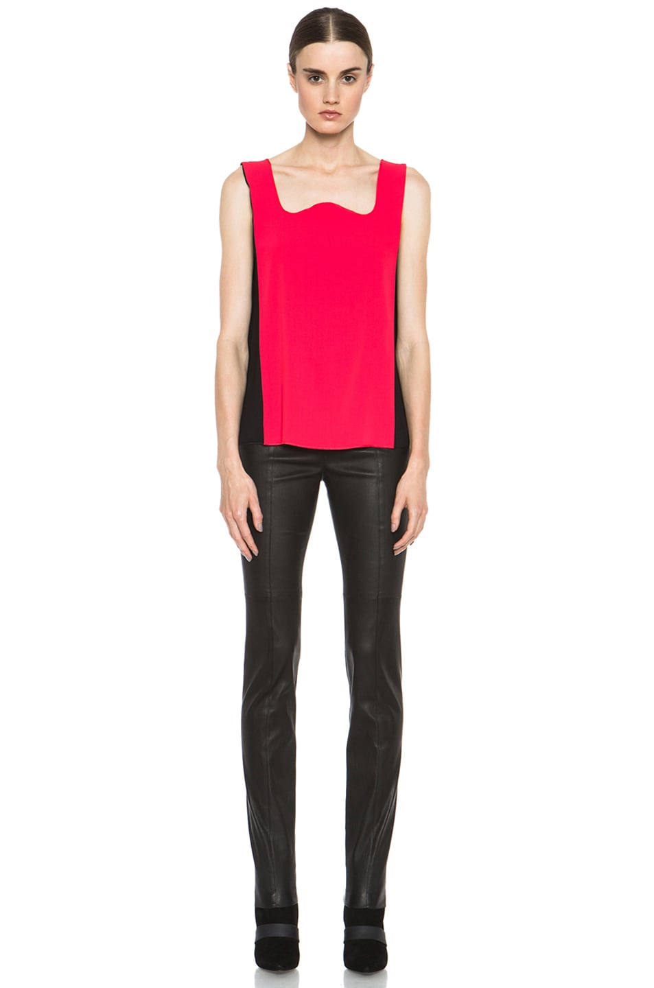 Image 5 of MM6 Maison Margiela Colorblock Poly Tank in Red & Black