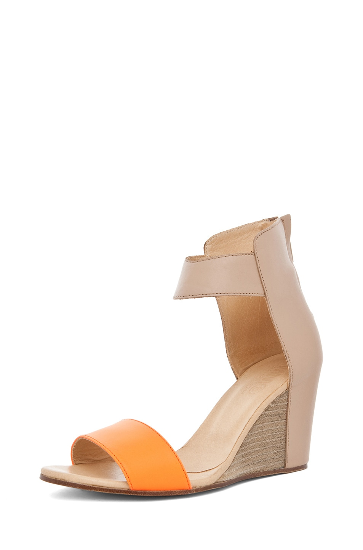 Image 2 of MM6 Maison Margiela Sandal Wedge in Orange & Beige