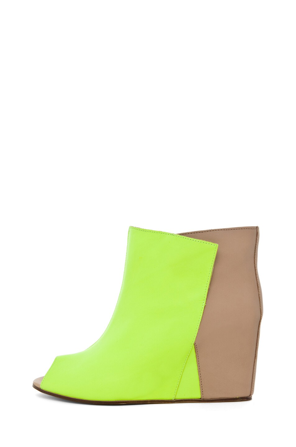 Image 1 of MM6 Maison Margiela Open Top Wedge Bootie in Yellow & Beige