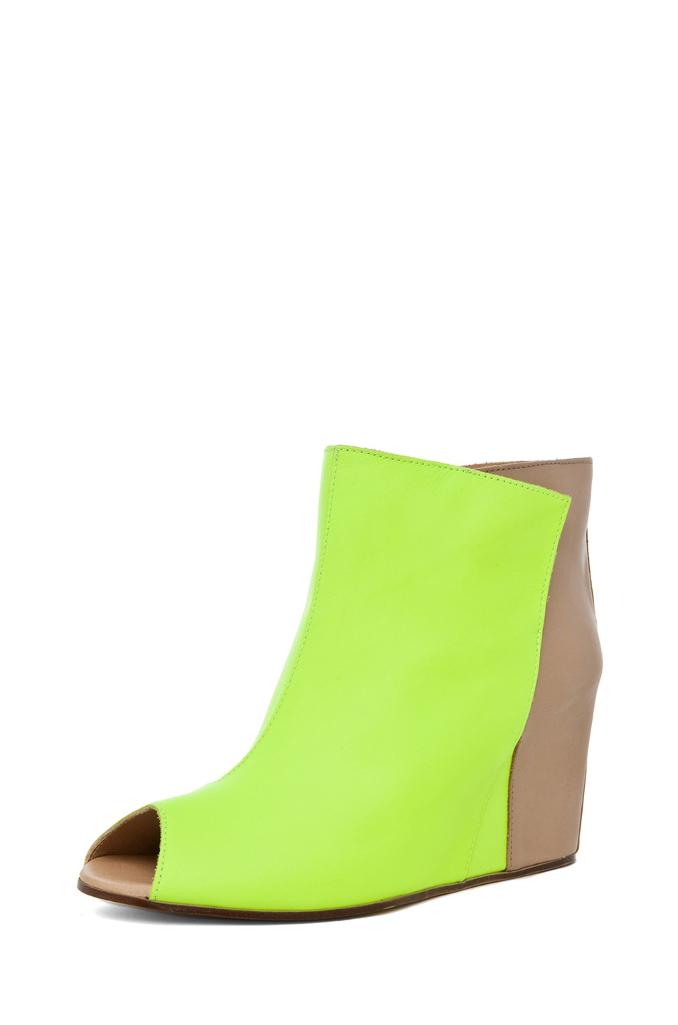 Image 2 of MM6 Maison Margiela Open Top Wedge Bootie in Yellow & Beige