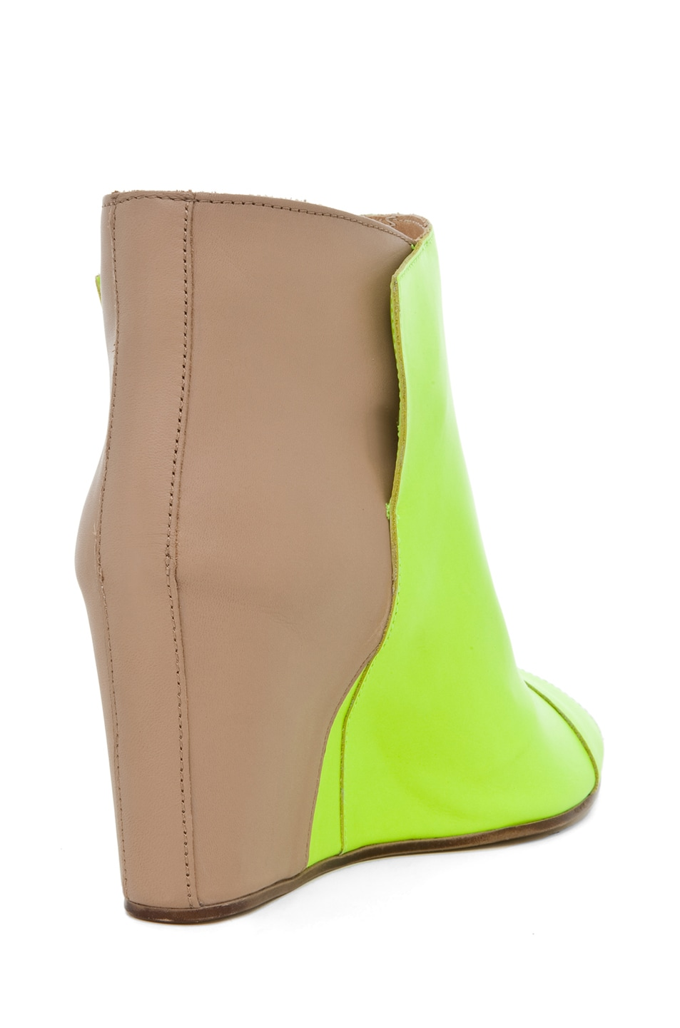 Image 3 of MM6 Maison Margiela Open Top Wedge Bootie in Yellow & Beige