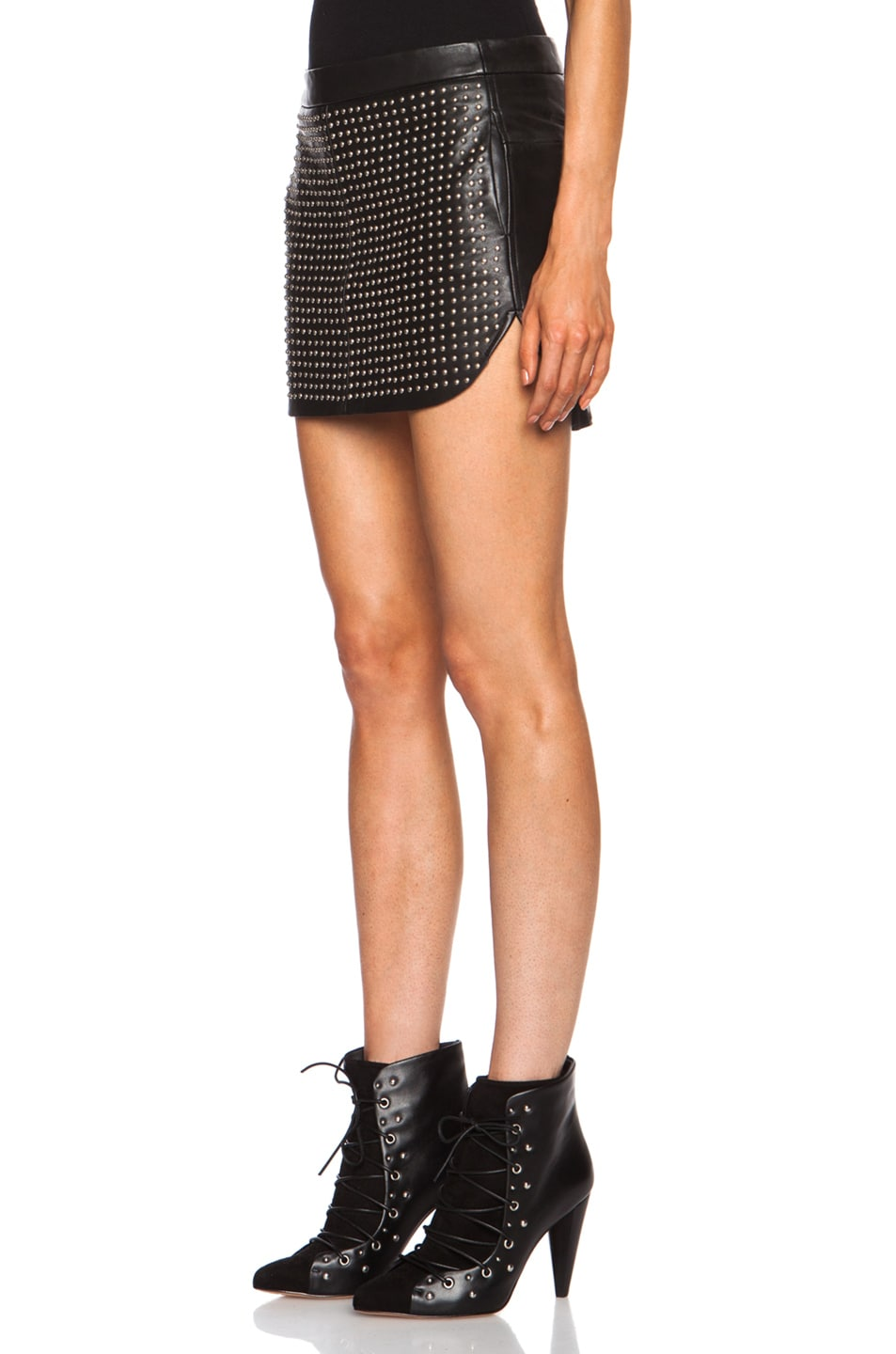 studded leather mini skirt in black fwrd