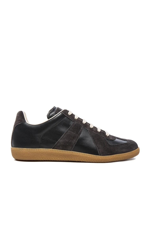 maison martin margiela replica leather low top sneaker black graphite. Black Bedroom Furniture Sets. Home Design Ideas