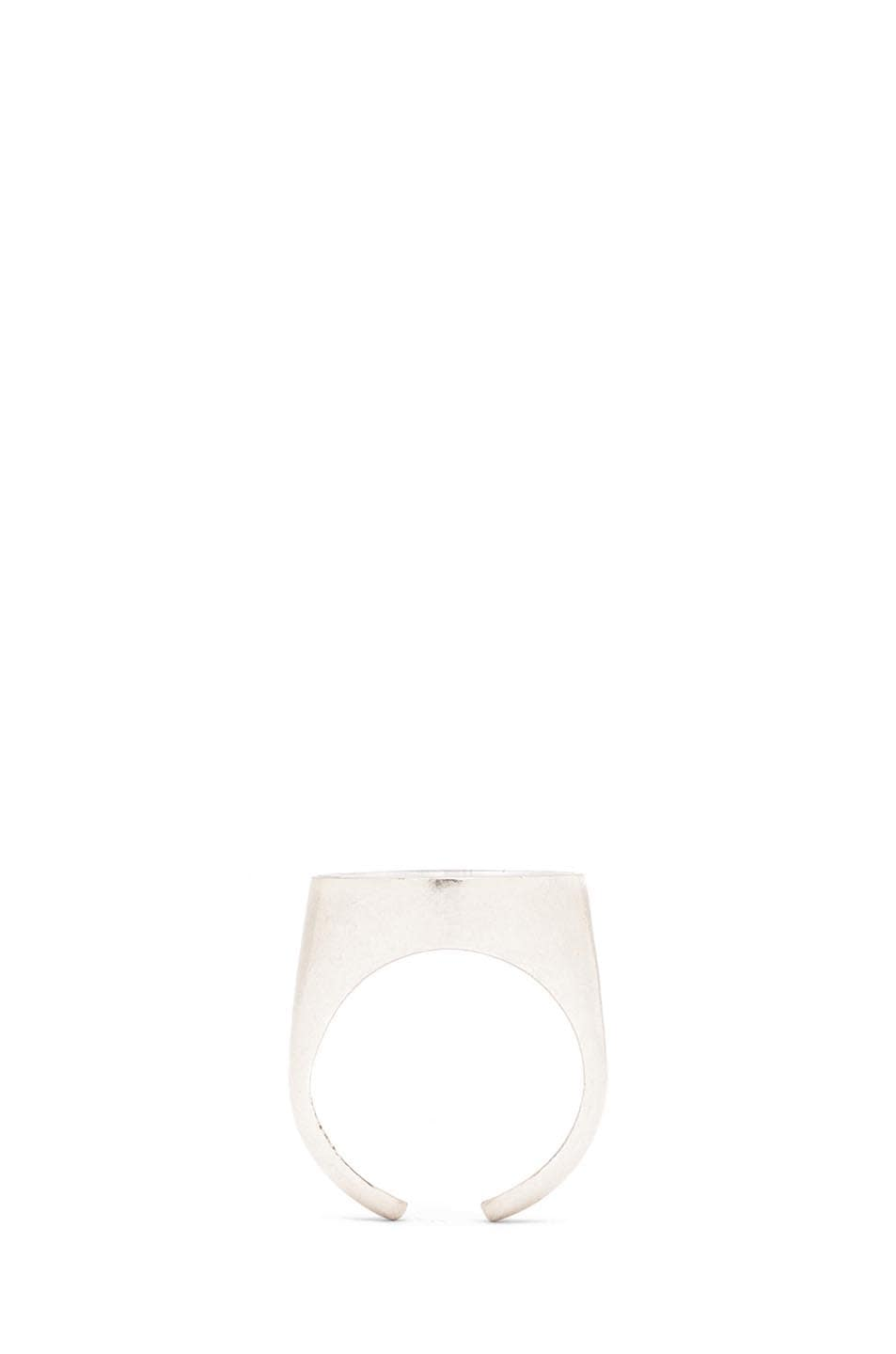 Image 4 of Maison Margiela Brass Ring in Silver & Black