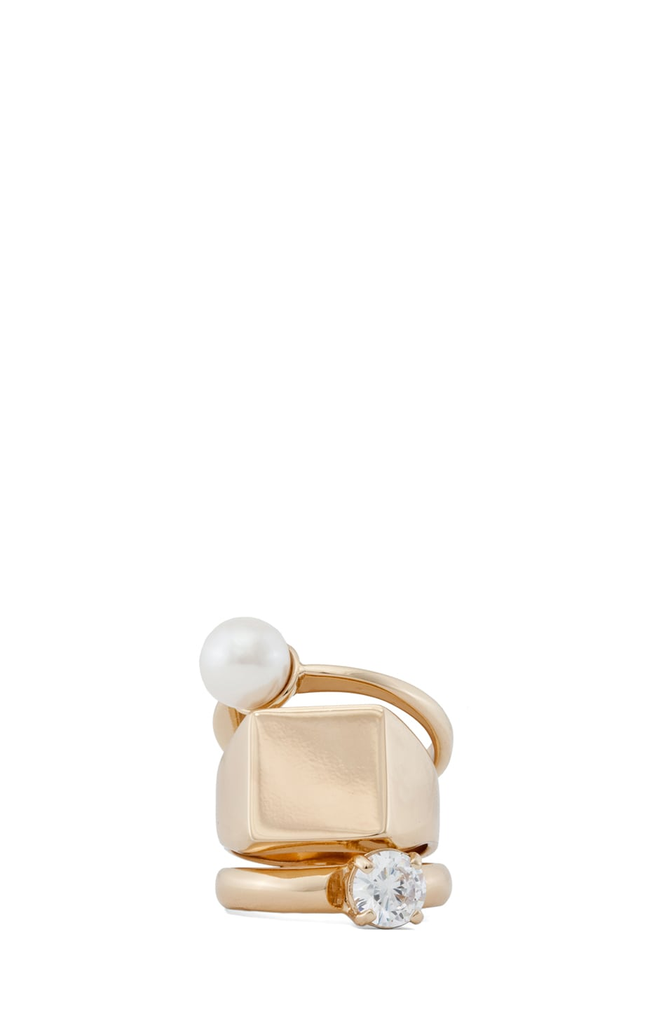 Image 1 of Maison Margiela Triple Stack Ring with Pearl in Gold & Cream