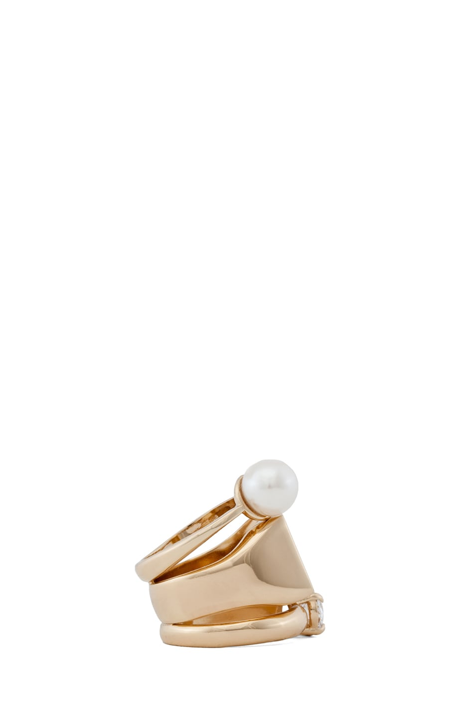 Image 2 of Maison Margiela Triple Stack Ring with Pearl in Gold & Cream