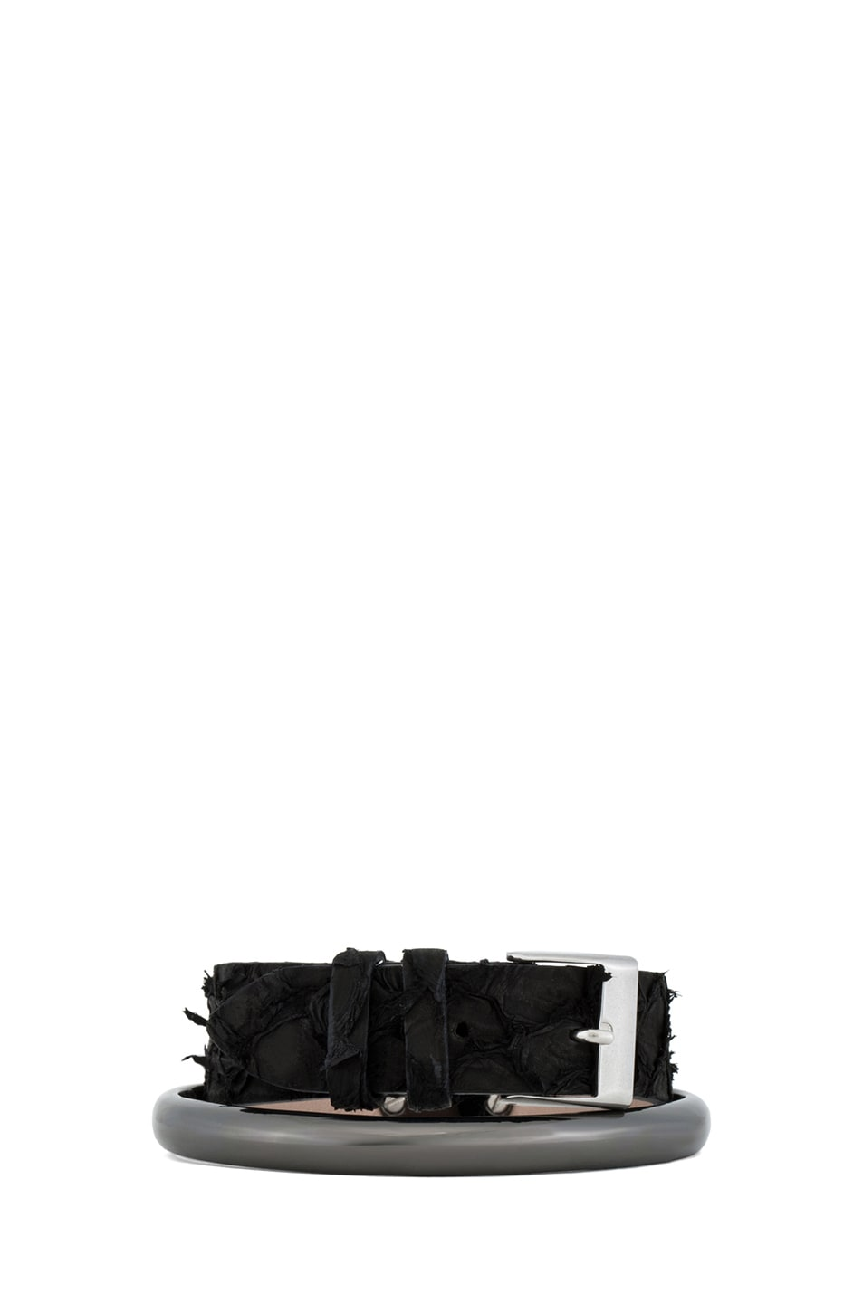Image 1 of Maison Margiela Double Wrap Perch Fish Leather Bracelet in Black & Gunmetal