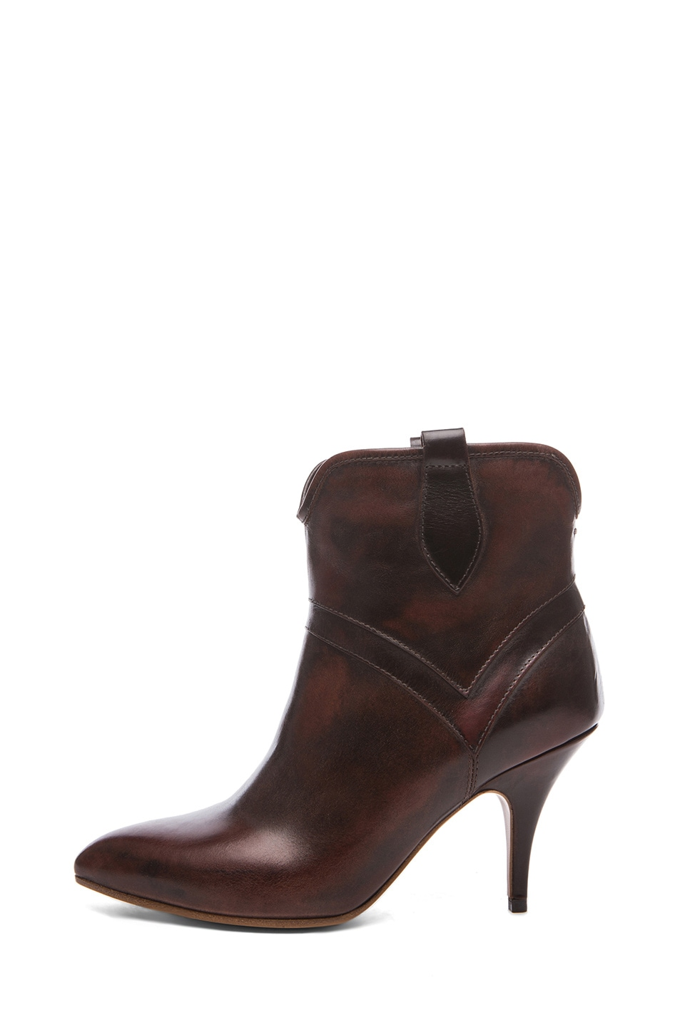 Image 1 of Maison Margiela Leather Texan Brushed Effect Bootie in Brandy