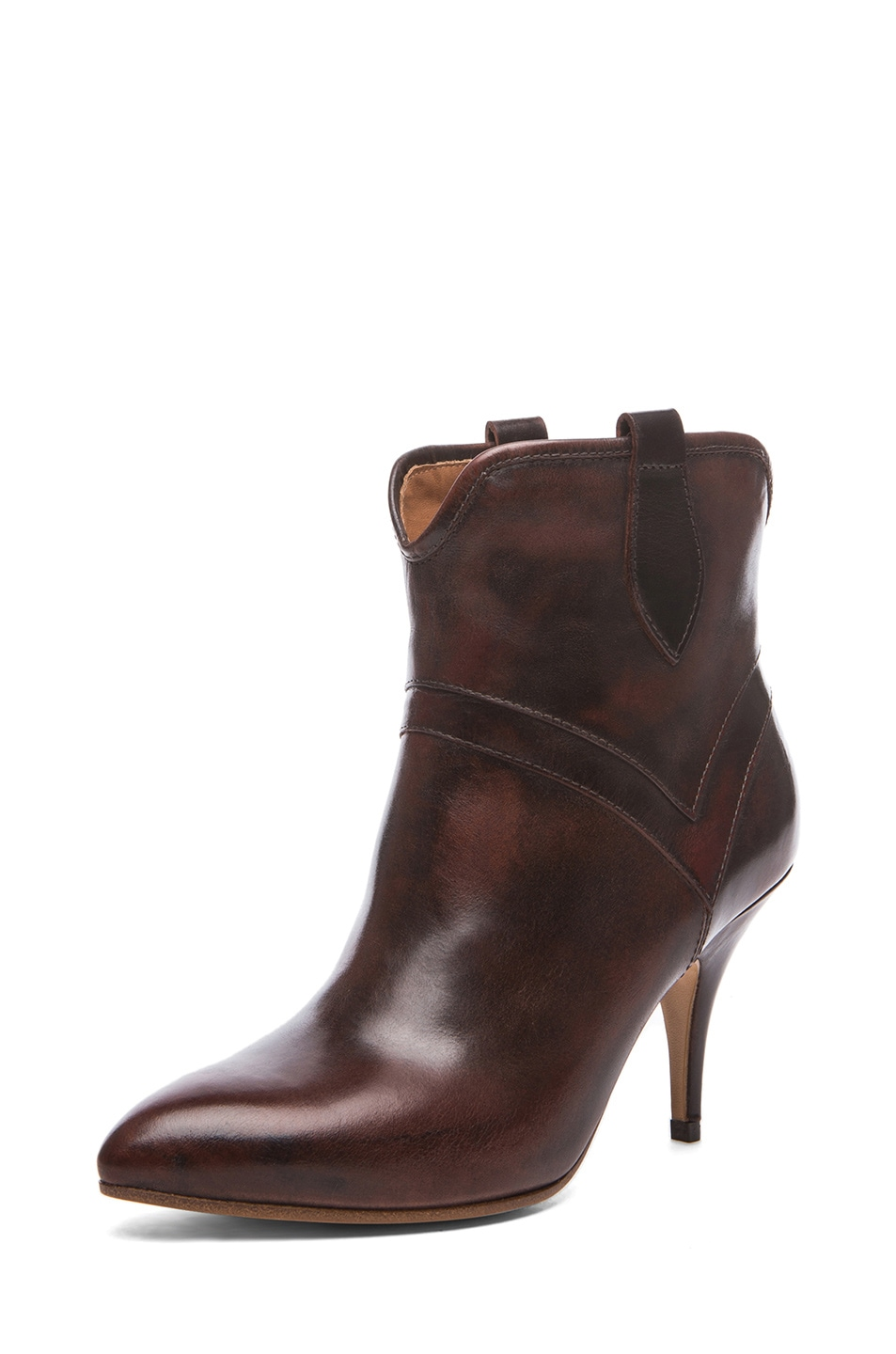 Image 2 of Maison Margiela Leather Texan Brushed Effect Bootie in Brandy
