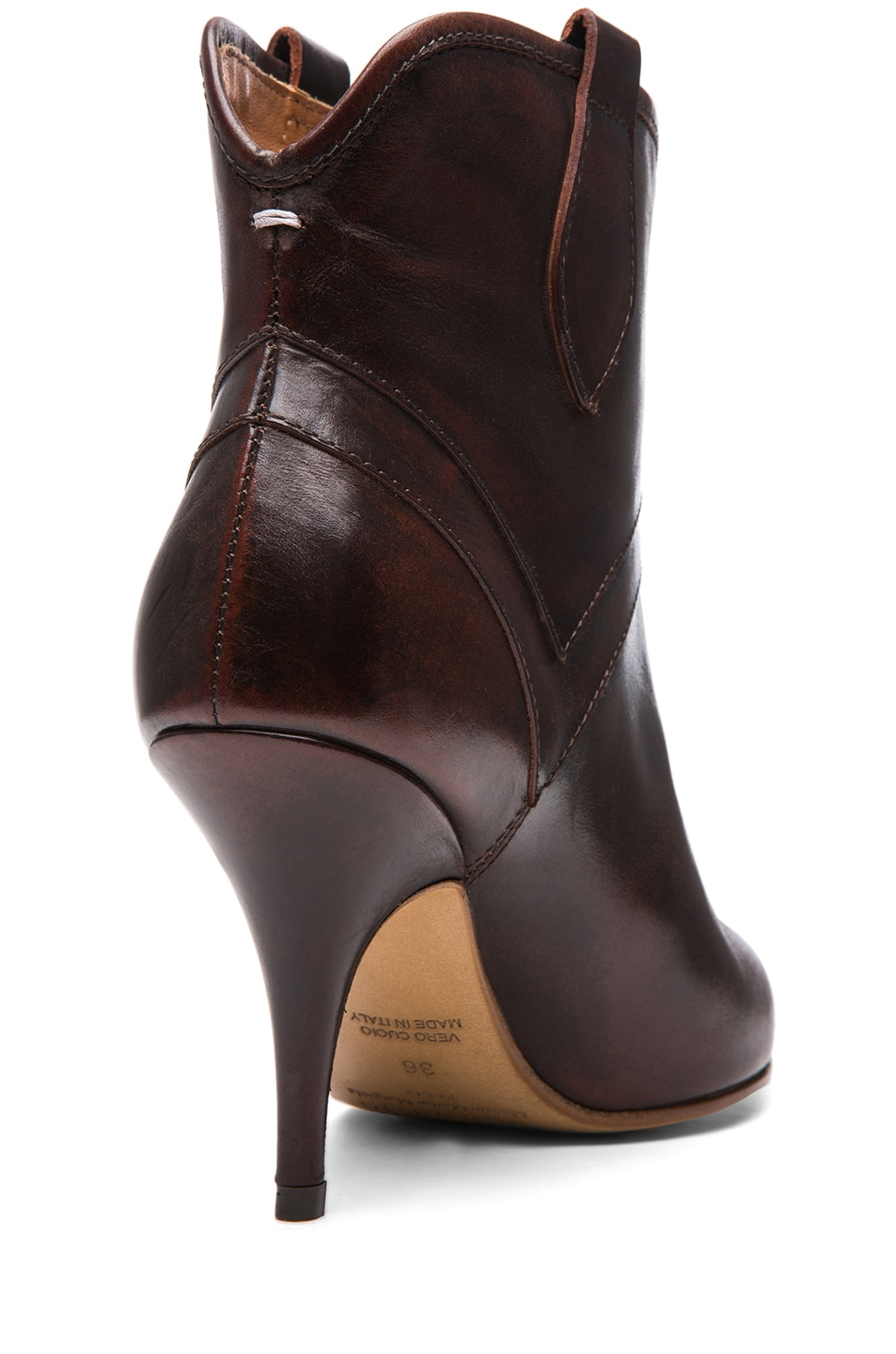 Image 3 of Maison Margiela Leather Texan Brushed Effect Bootie in Brandy