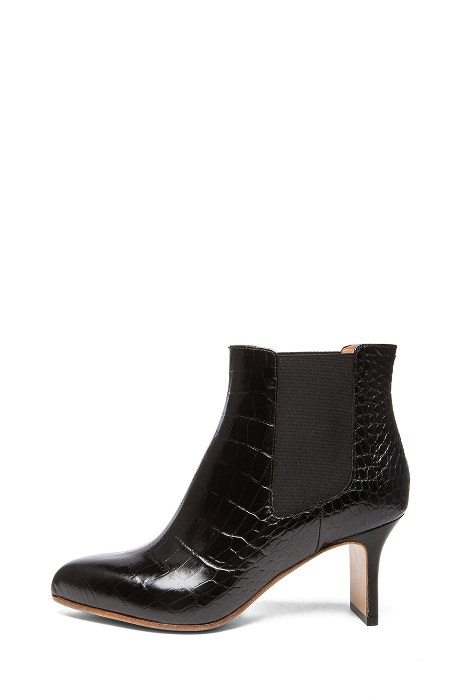 Image 1 of Maison Margiela Croc Embossed Leather Defile Booties in Black