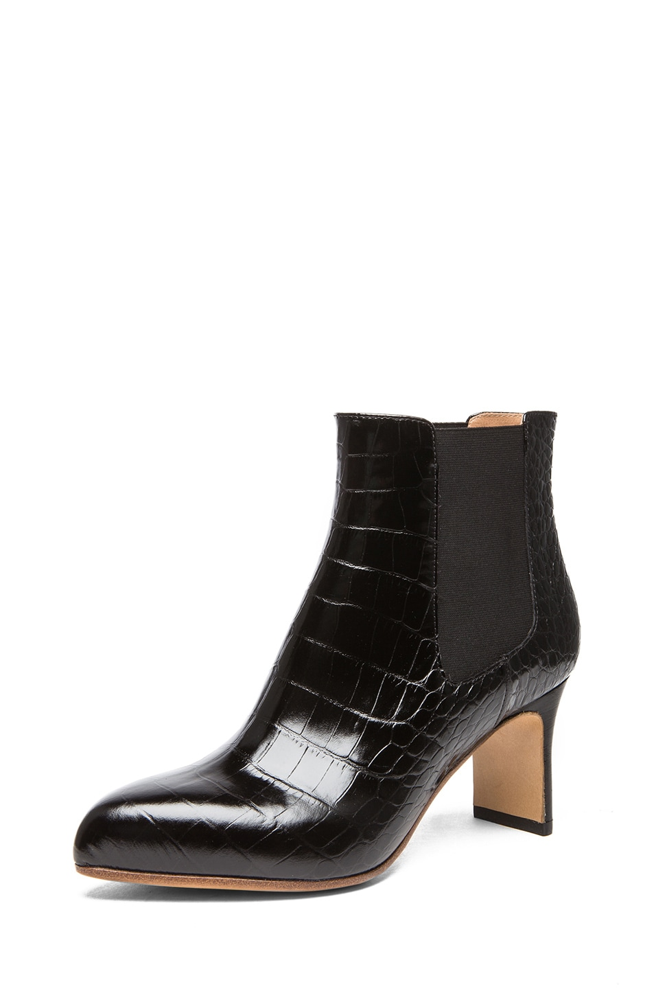 Image 2 of Maison Margiela Croc Embossed Leather Defile Booties in Black