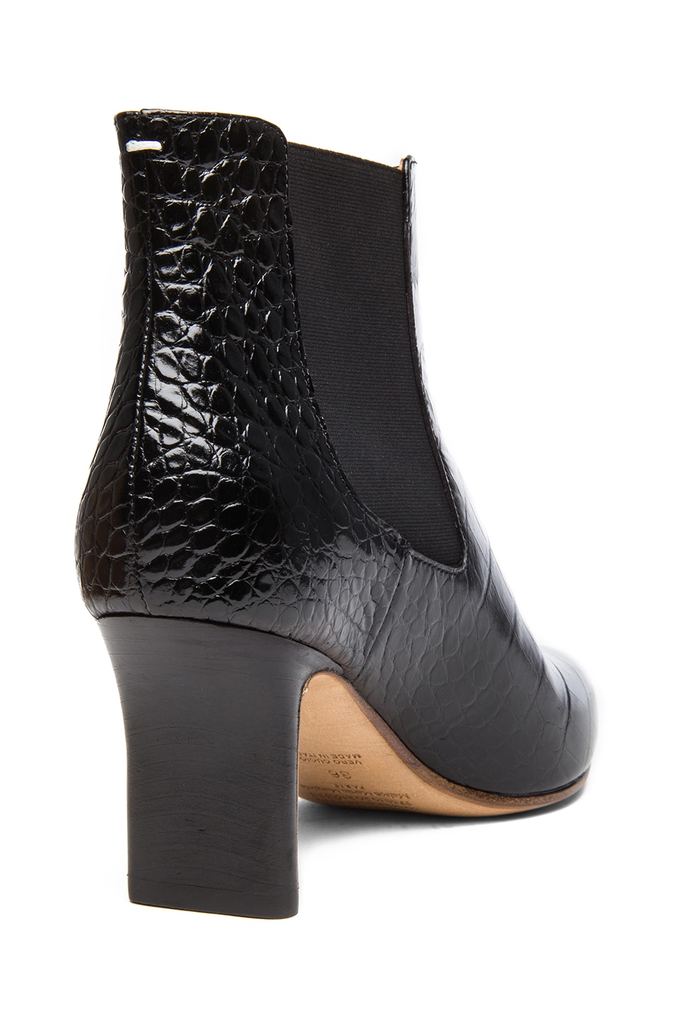 Image 3 of Maison Margiela Croc Embossed Leather Defile Booties in Black