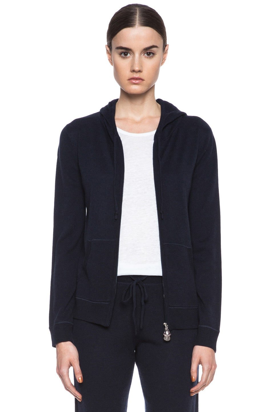 Image 1 of MONCLER Cashmere Zip Swearer in Navy