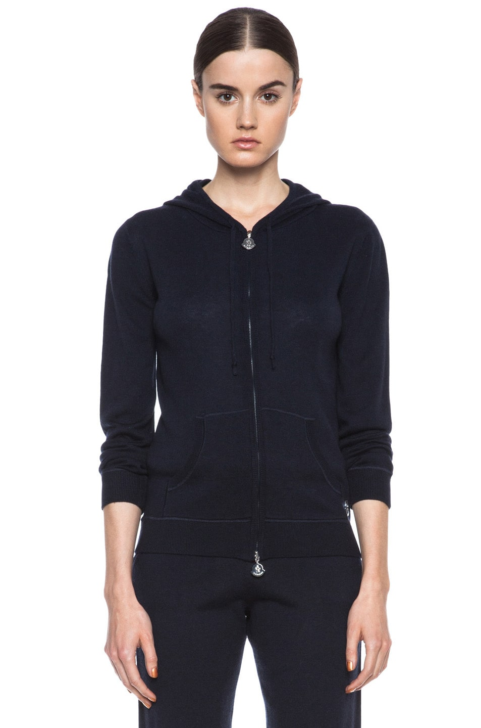 Image 2 of MONCLER Cashmere Zip Swearer in Navy