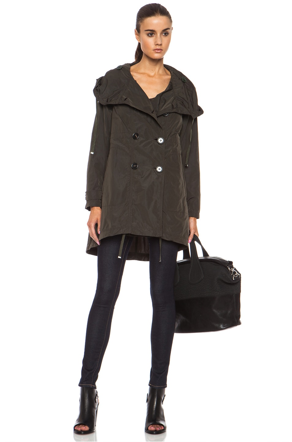 Image 1 of MONCLER Baillet Polyamide Coat in Olive