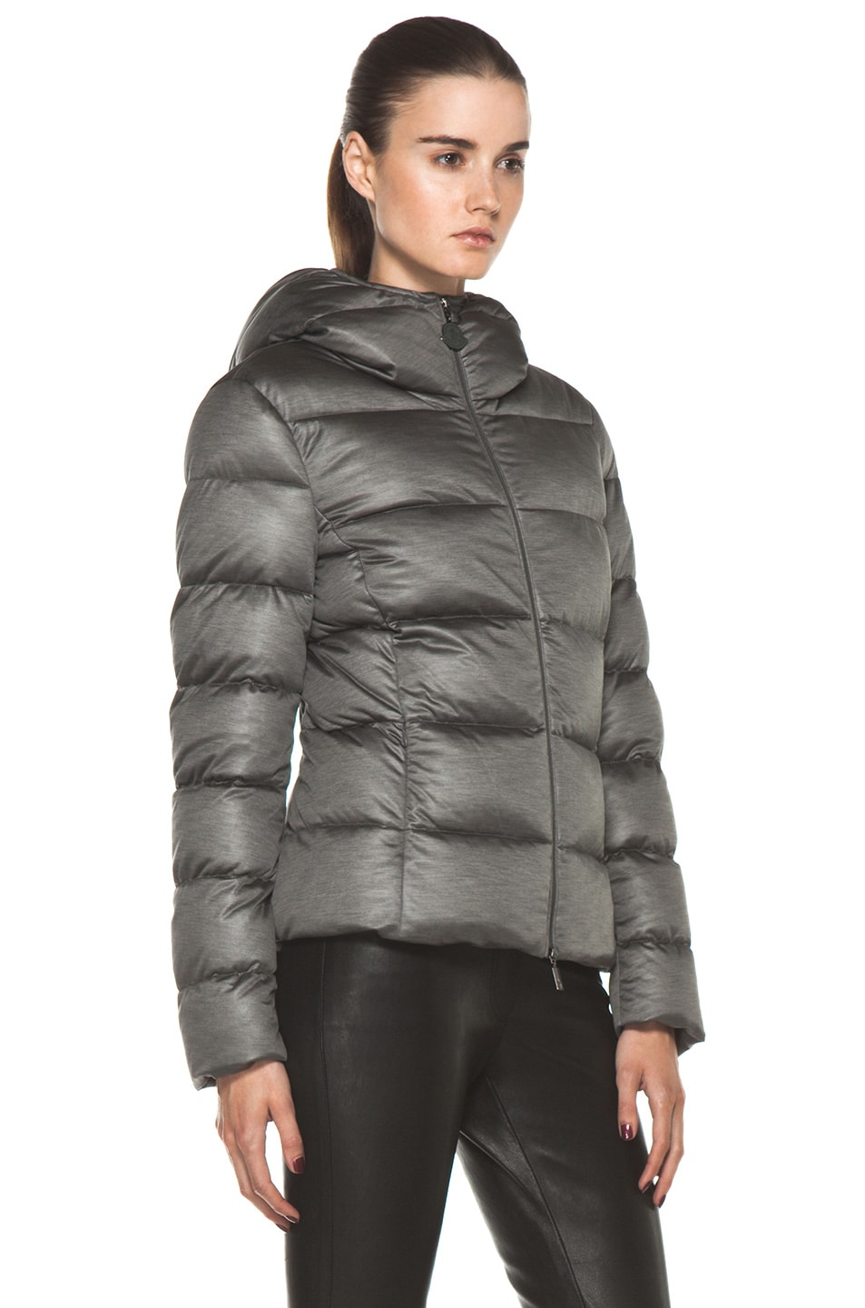 Image 4 of Moncler Jersey Poly Jacket in Charcoal