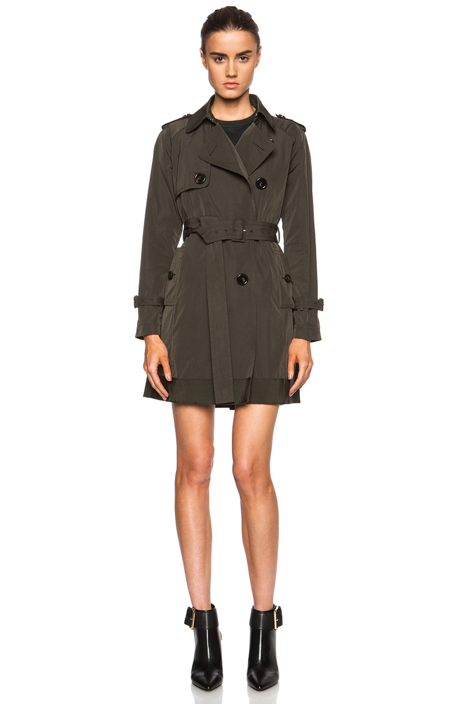 Image 2 of MONCLER Delmas Poly-Blend Trench in Army Green