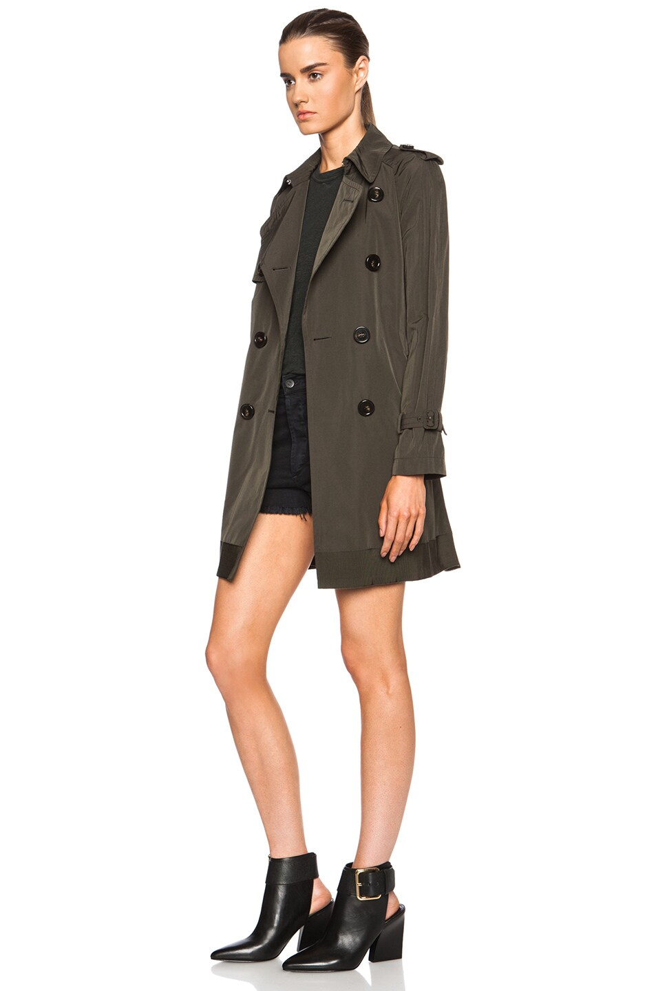 Image 3 of MONCLER Delmas Poly-Blend Trench in Army Green