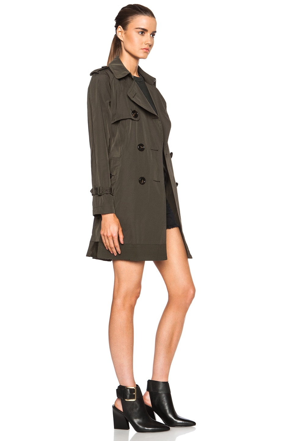 Image 4 of MONCLER Delmas Poly-Blend Trench in Army Green