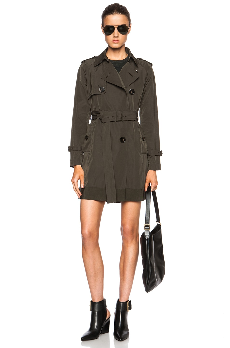 Image 6 of MONCLER Delmas Poly-Blend Trench in Army Green