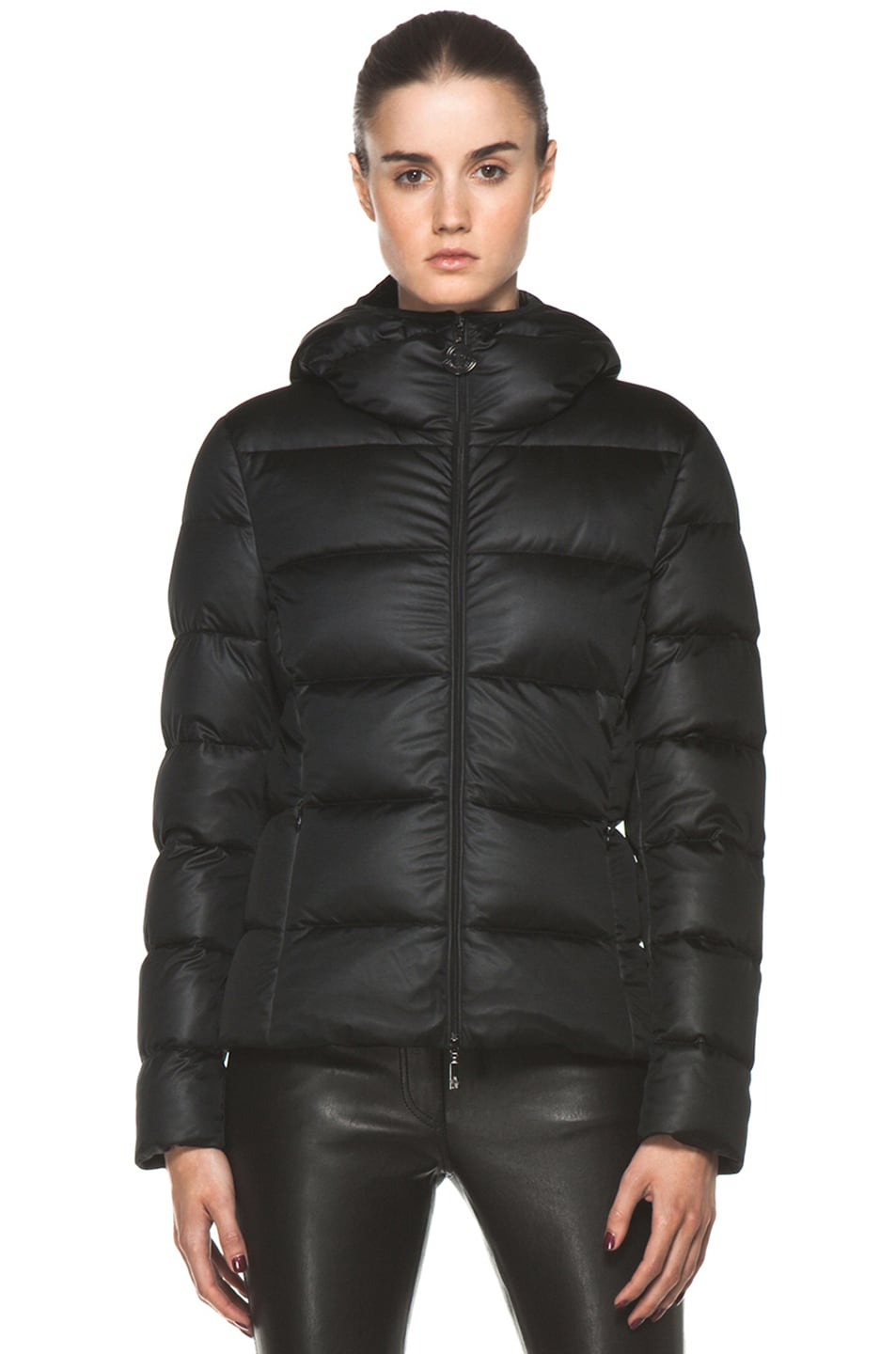 Image 2 of Moncler Jersey Coat in Black