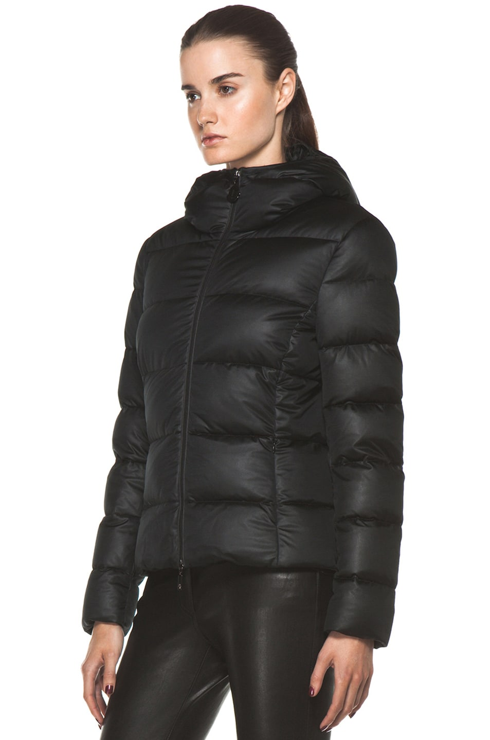 Image 3 of Moncler Jersey Coat in Black