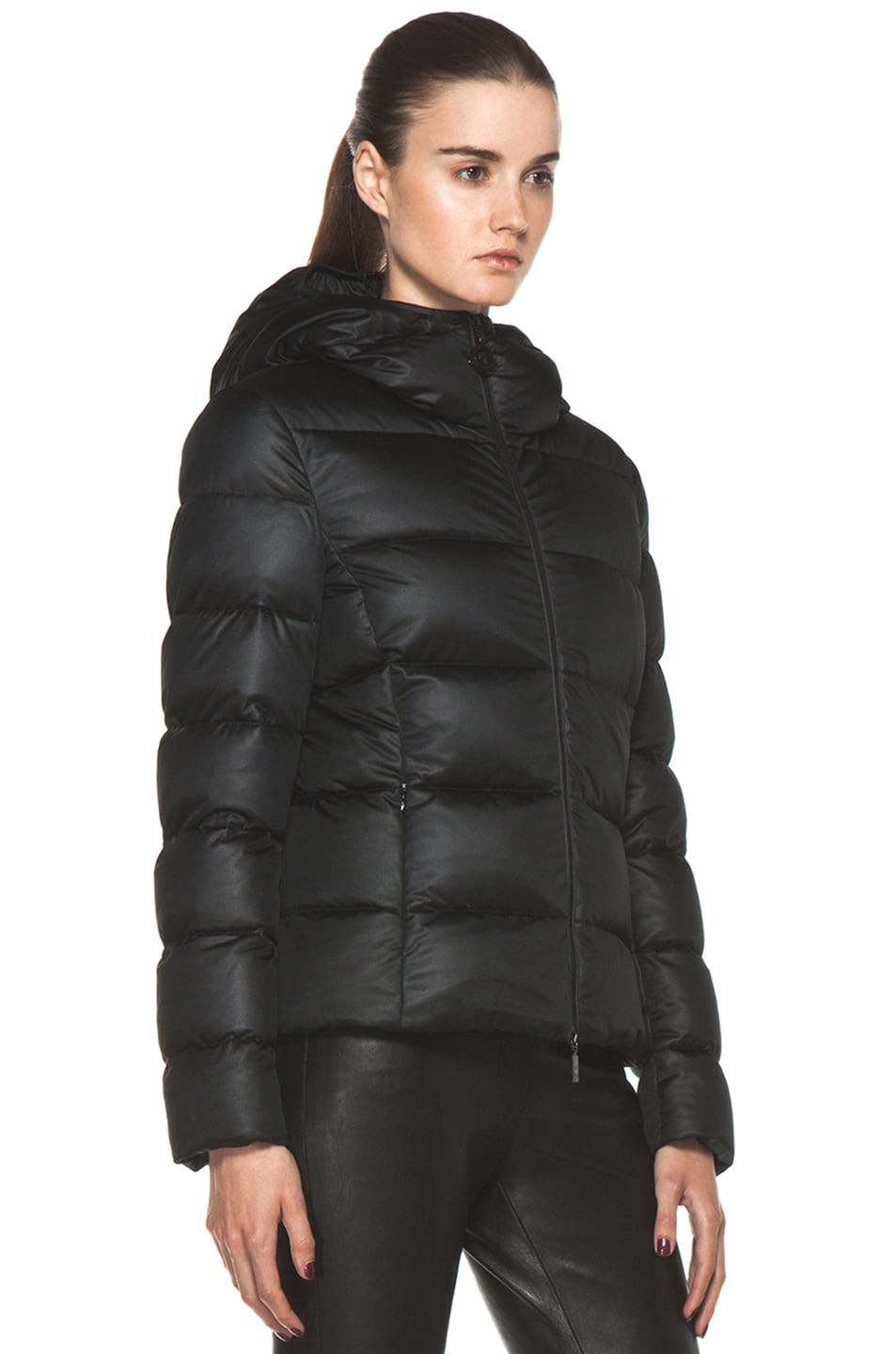 Image 4 of Moncler Jersey Coat in Black