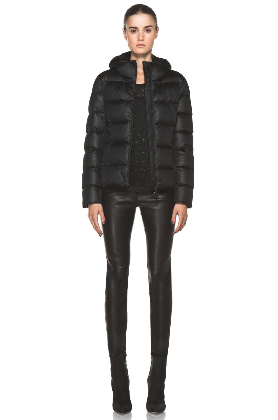 Image 6 of Moncler Jersey Coat in Black