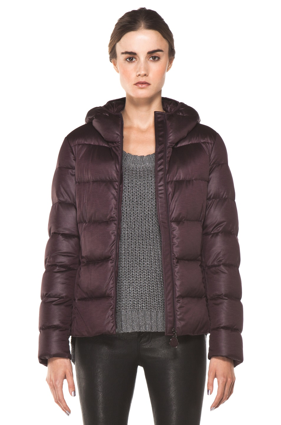 Image 1 of Moncler Jersey Poly Jacket in Burgundy