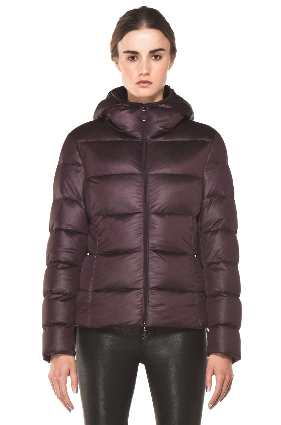 Image 2 of Moncler Jersey Poly Jacket in Burgundy