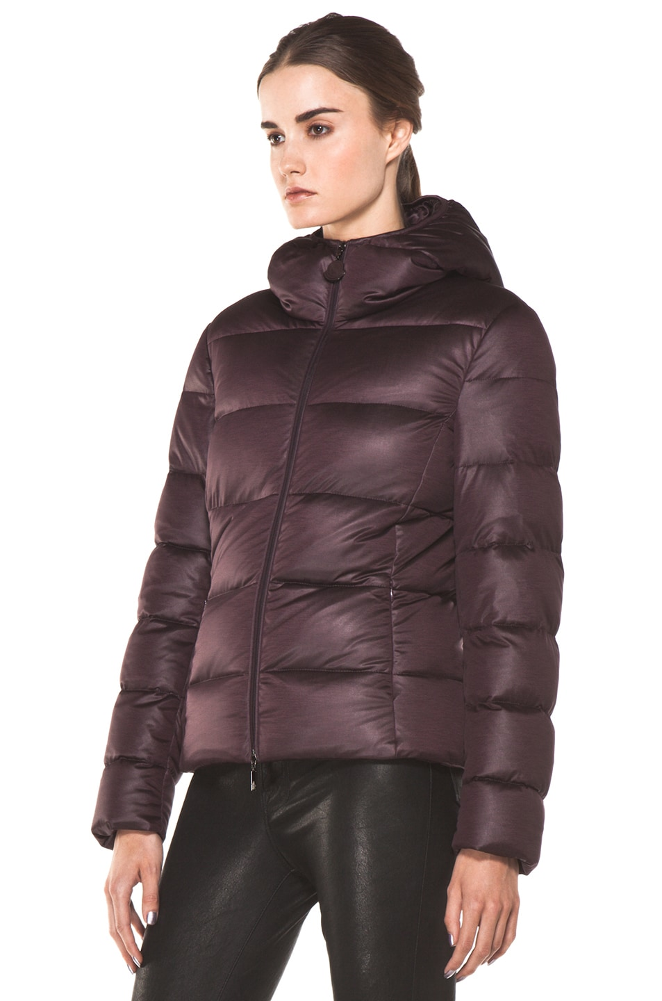 Image 3 of Moncler Jersey Poly Jacket in Burgundy