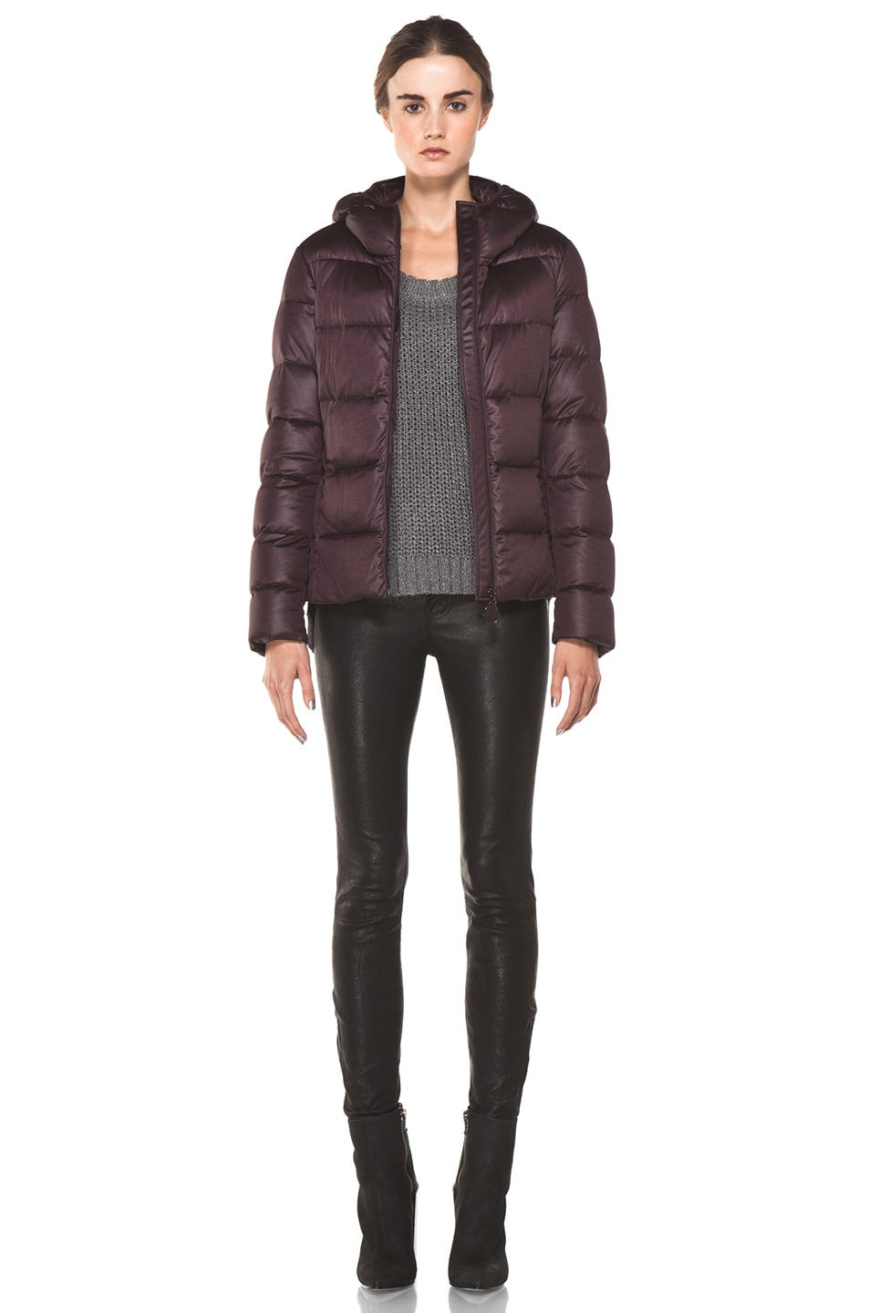 Image 6 of Moncler Jersey Poly Jacket in Burgundy