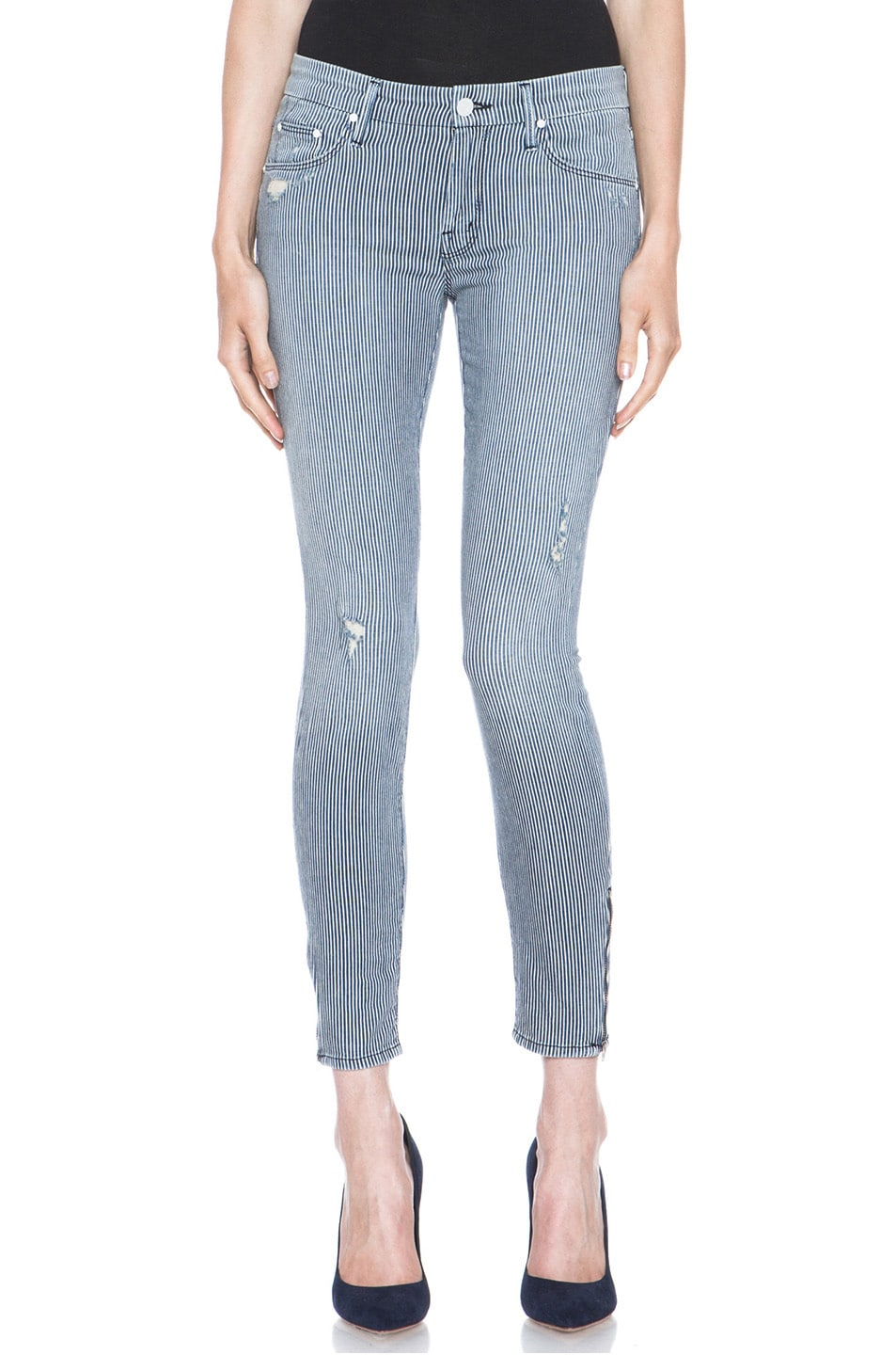 Image 1 of MOTHER Skinny Crop Jean Destroyed in On The Road