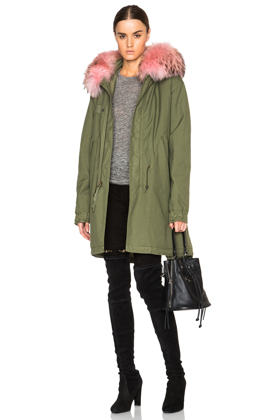 Mr Amp Mrs Italy Army Canvas Parka With Raccoon Fur In