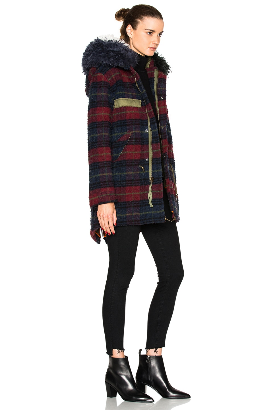 Image 4 of Mr & Mrs Italy Midi Parka Jacket in Plaid