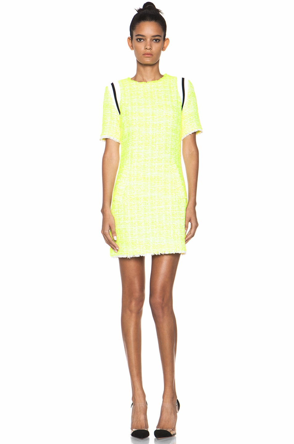 Image 1 of MSGM Tweed Dress in Neon Yellow