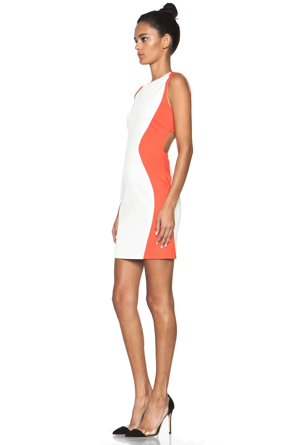 Image 2 of MSGM Open Back Dress in White & Orange