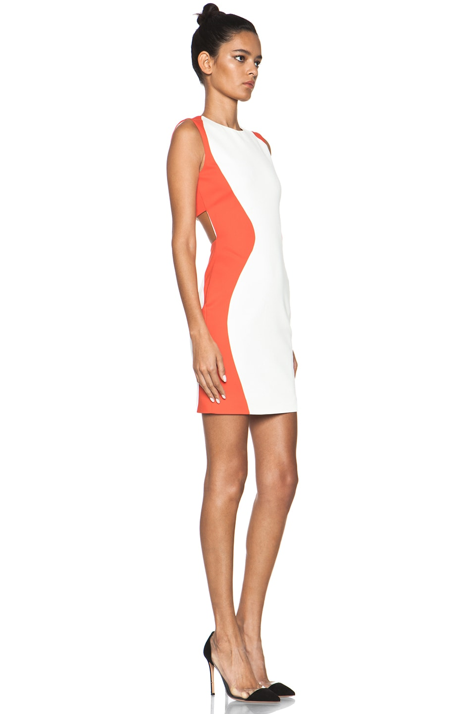 Image 3 of MSGM Open Back Dress in White & Orange