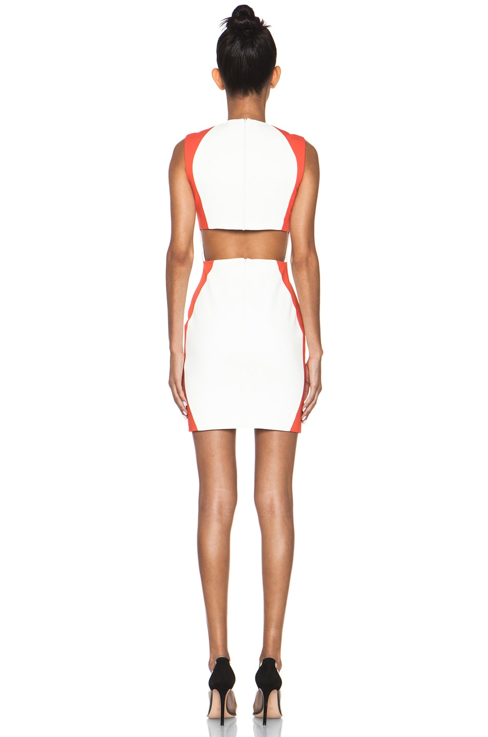 Image 4 of MSGM Open Back Dress in White & Orange