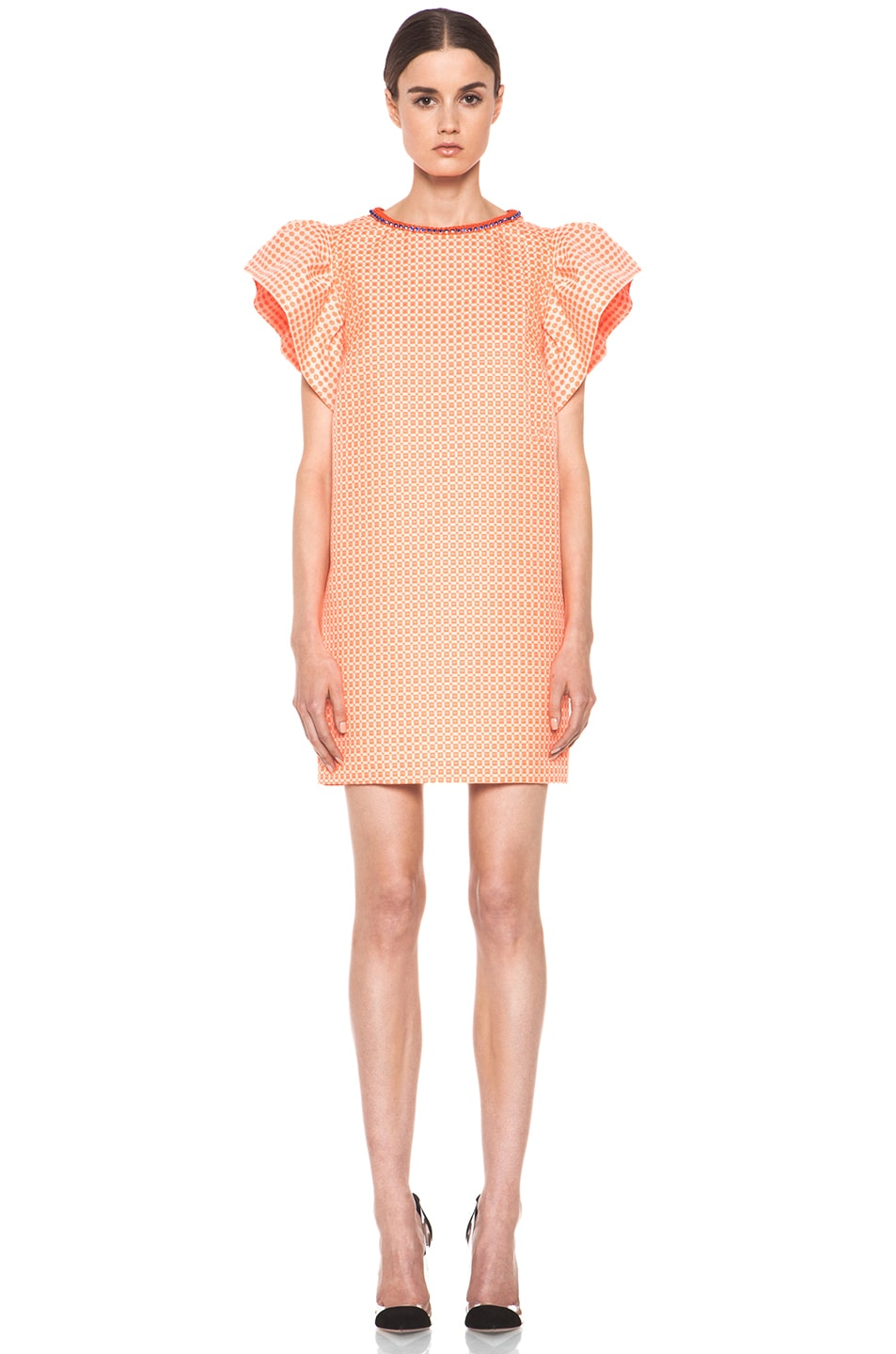 Image 1 of MSGM Puffy Sleeve Dress in Neon Orange