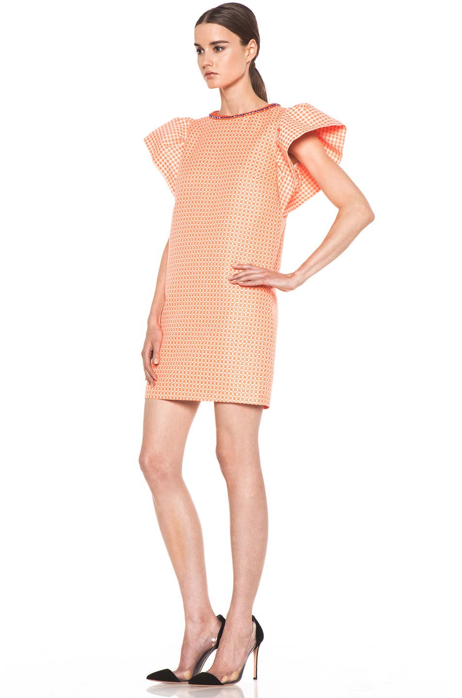 Image 2 of MSGM Puffy Sleeve Dress in Neon Orange