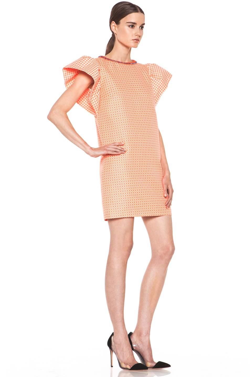 Image 3 of MSGM Puffy Sleeve Dress in Neon Orange