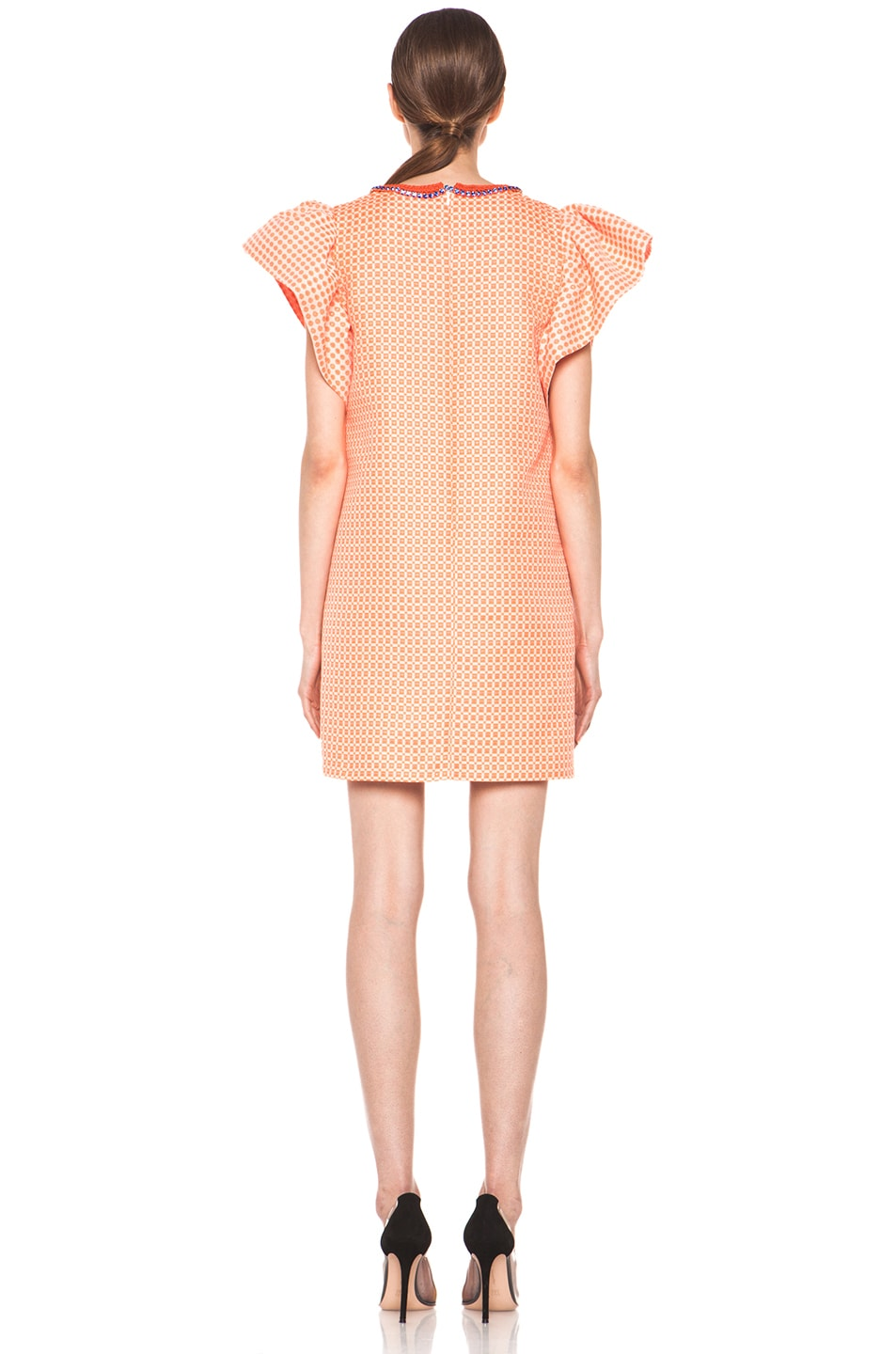Image 4 of MSGM Puffy Sleeve Dress in Neon Orange