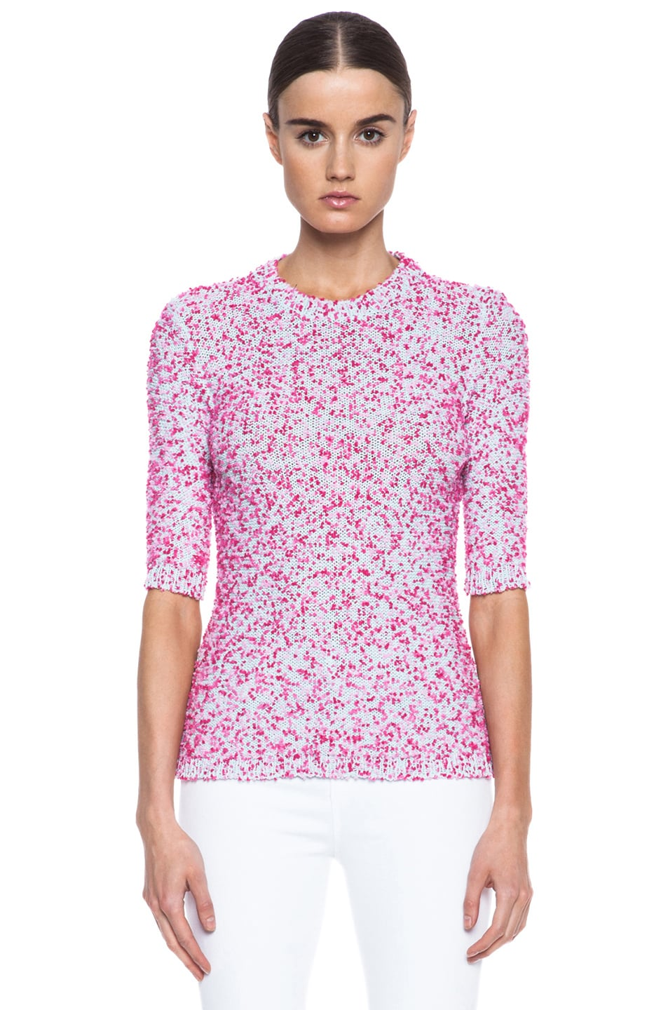 Image 1 of MSGM Pom Pom Knit Sweater in Pink